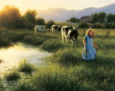 Small boy fishing – Cow Art and More