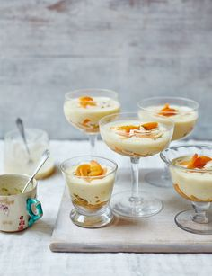 White chocolate creams with apricots, passion fruit and lime -  Full of summer freshness and zesty flavour, these creams are a doddle to make and are ideal for get-ahead summer entertaining