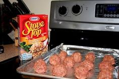 stove top stuffing meatballs (try with ground turkey and teh savory stuffing?)
