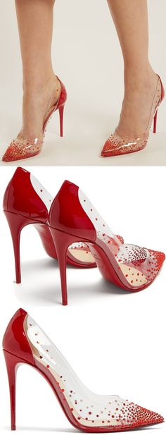 Assembled from clear PVC and red patent leather, Christian Louboutin's Degrastrass pumps are embellished with faceted Strass™ crystals. Made in Italy, this popular design showcases a slender stiletto heel. Dream Shoes, Crazy Shoes, Me Too Shoes, Pumps Heels, Stiletto Heels, Prom Heels, Mode Shoes, Fashion Heels, Emo Fashion