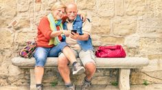 Happy senior couple having fun together with mobile smart phone - Concept of active playful elderly during retirement - Travel lifestyle concept with retired people - Warm cloudy afternoon color tones - stock photo Best Travel Apps, Travel News, Asia Travel, Travel Usa, World Ugliest Dog, Ugliest Dog Contest, Activities For Dementia Patients, Senior Citizen Activities, Playboy Tv