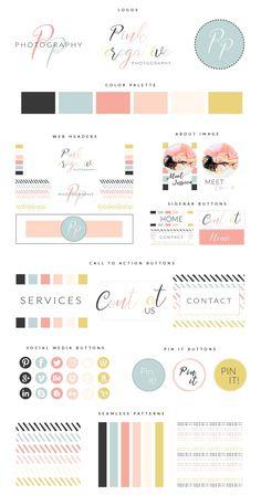 Web Branding Kit Pink Perogative - sitio web - Ideas of sitio web - Web Branding Kit Pink Perogative Site Web Design, Layout Design, Design Blog, Header Design, Branding Kit, Branding Your Business, Personal Branding, Corporate Branding, Branding Ideas