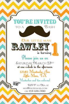 Invitation for mustache bash birthday party invitation mustache