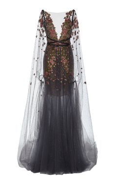 Shop Embroidered Tulle Gown With Cape. Marchesa's tulle gown has detailed floral embroidery along the top, a matching sheer cape and a deep V-neckline. Ball Dresses, Ball Gowns, Evening Dresses, Beautiful Gowns, Beautiful Outfits, Pretty Outfits, Pretty Dresses, Fantasy Gowns, Look Boho