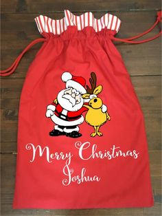 Calico Santa Sack - Cute Santa and Reindeer Red Santa Sack, Santas Workshop, Santa And Reindeer, Big Day, Christmas Stockings, Cute, Red, Collection, Fashion