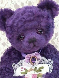 Purple teddy bear- that face on this bear is so sweet. The Purple, Purple Lilac, All Things Purple, Shades Of Purple, Purple Stuff, Purple Teddy Bear, Color Lila, Purple Reign, Purple Aesthetic