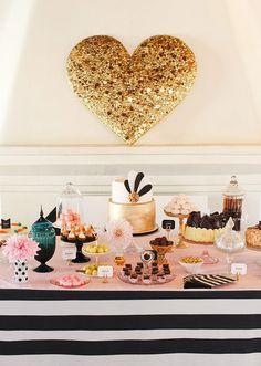 Gold and black cake; Art Deco; gold heart wall art #wedding #cake #dessertbar…