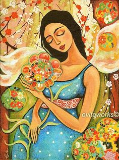 Pregnant Mother, Art, Maternity, Painting, Pregnancy, Garden, Angel - Birth Flower - Art Print 9.5x13. $16.00, via Etsy.