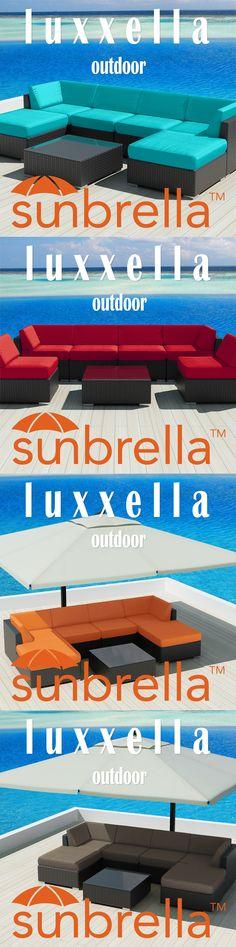 Luxxella Mallina 7pcs Modern Wicker Patio Furniture set with Sunbrella Fabric