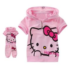 "New ""Hello Kitty"" Girls shortsleeved summer out-fit 2PCS Sets size1.2.3.4.5"