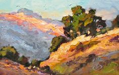 CANYON OAKS, 10x5 INCH CALIFORNIA IMPRESSIONIST LANDSCAPE by TOM BROWN, painting by artist Tom Brown