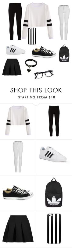 """black&white / adiads"" by madybaby2425 ❤ liked on Polyvore featuring Frame, 2LUV, adidas, Converse, Topshop and T By Alexander Wang"