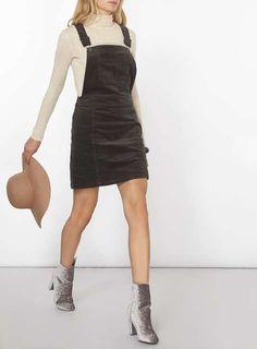 Charcoal Cord Dungaree Pinny Dress - Pinafore Dresses - Dresses - Dorothy Perkins