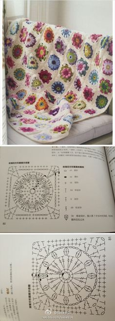 Crochet Squares Patterns Chart for crochet granny square. Pattern is Asian, but there is a chart. Really beautiful! Point Granny Au Crochet, Grannies Crochet, Beau Crochet, Crochet Diy, Crochet Afgans, Crochet Motifs, Manta Crochet, Granny Square Crochet Pattern, Crochet Blocks