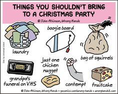 Wrong Hands by John Atkinson for December 2019 - GoComics School Humor, Funny School, Bad Puns, English Fun, Christian Music, The Funny, December, Christmas Decorations, Jokes