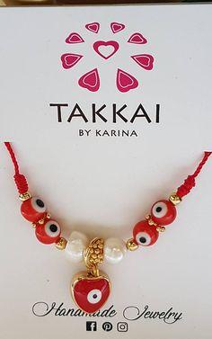 Pulsera de Ojo Turco . Evil Eye Bracelets with pearls. #redbracelets #hearts #valentinesgift #evileyesbracelets #wholesalejewelry #etsyshop #luckybracelets