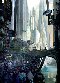 """Stephan Martiniere: As far as I'm concerned, he's the master of the futuristic cityscape. This is his cover art for Ian McDonald's River of Gods."""