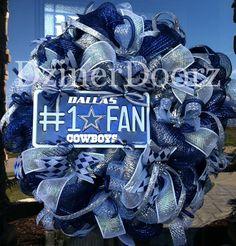 451dcaf50 Deluxe deco mesh Dallas Cowboys Fan Wreath.  125.00