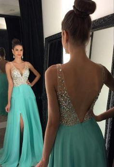 Sparkly Crystal Beaded V Neck Prom Dresses,Open Back Chiffon Prom Gowns,Evening Gowns With Left Slit,M7