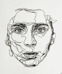 Ink Drawings of Luke Dixon. Various shapes in face (movement ...