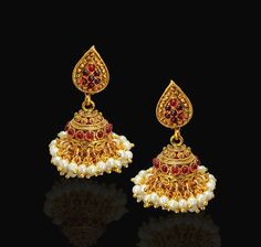 612cdb83f Designer & Beautiful Golden colour Red & White Pearl Jhumka/Earring Set for  Fashion Women Jewellery - Satyam Jewellery NX - 682001