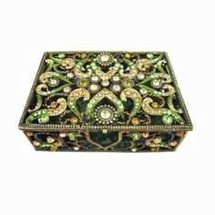 Metal w Green Amber Clear Austrian Crystals Trinket Box