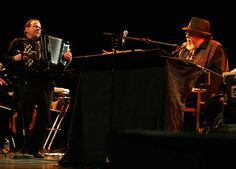 Bandoneon virtuoso Richard Galliano (L) and musician Eddy Louiss (R) perform during the Nice Jazz Festival July 8, 2012.