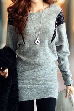 Stylish Scoop Neck Sequins Embellished Batwing Sleeve Women's Dress Long Sleeve Dresses   RoseGal.com Mobile
