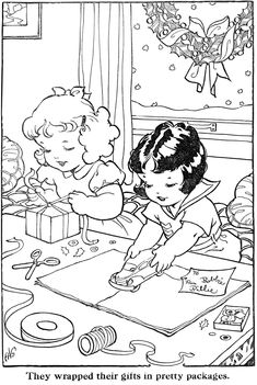 Coloring Page(s) Gift wrap..* 1500 free paper dolls toys at artist Arielle Gabriels The International Paper Doll Society Christmas gift for Pinterest pals also free China & Japan paper dolls The China Adventures of Arielle Gabriel Merry Christmas to Pinterest users *