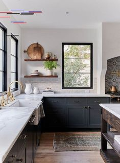 Inspiring Kitchen Design Ideas from Pinterest - jane at home Beautiful two-toned kitchen with dark gray cabinets and open shelving | Amber Interiors