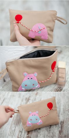 So cute, hippo appliqued pouch Fabric Crafts, Sewing Crafts, Sewing Projects, Diy Tote Bag, Pouch Bag, Diy Pencil Case, Creation Couture, Sewing Appliques, Fabric Bags