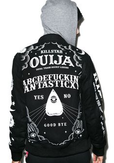 Kill Star Ouija Wool Jacket what fate awaits you? Ask this jacket any question, cuz this badazz piece out outerwear features an ouija board design on the back, moon and sun down one sleeve, and the classic Kill Star logo down the other. Made outta 100% wool with two pockets to stash yer shit, ribbed hems and collar with a button up front that are ideal for layerin', you'll feel a bit better about what the universe has to say about yer future.