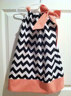 Fall Halloween Chevron Boutique Girl Pillowcase Dress, sizes 1-4. $35.00, via Etsy.