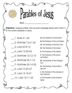 This free worksheet was designed to get your students reading 10 Parables of Jesus. After reading each passage they will identify which parable was represented. It should help your students remember where certain parables are located and get your students discussing the parables.  *Use this after your students use the Parable of Jesus Task Cards.
