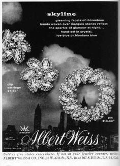 "Vintage Weiss Jewelry Ad - ""Skyline"" rhinestone series"