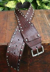CALVIN-KLEIN-BROWN-WIDE-LEATHER-BELT-Silver-Studded-Womens-SMALL