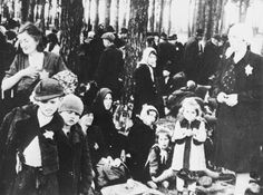 """"""" Hugarian Jews waiting in the dreaded Little Woods by Gas Chamber V after being sorted by SS guards and Doctors/Auschwitz II-Birkenau, June 1944 """" 70% of all who arrived at the camp were selected for gassing, and were never registered as having..."""