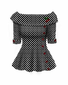 Rockabilly Retro Button Cherry Top
