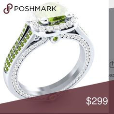 💚Bargain 🍀 Firm Price Natural Peridot ring set in Gorgeous Sterling silver ; stamped 925 Beautiful craftsmanship 1:00CT center stone white topaz on the gallery Jewelry Rings