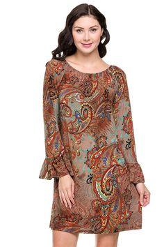 Online Clothing Boutique | Kelly Brett Boutique - Plus Size Paisley Shift Dress Rust, $42.00 (http://www.kellybrettboutique.com/plus-size-paisley-shift-dress-rust/)