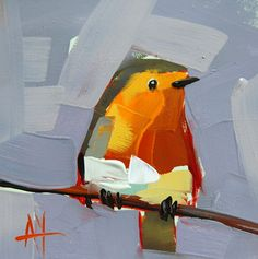 Robin no. 90 original bird oil painting by Angela Moulton prattcreekart