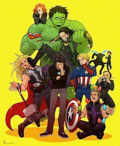 Avengers and Loki :D ❤ :D