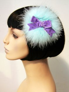 Fairy Kei Mint Marabou Poof Hair Clip Accessory by CutieDynamite, $25.00