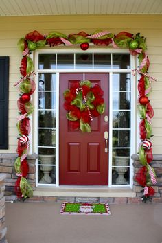 Good ideas here - and she used command hooks on the stone area at the bottom to hold the garland !