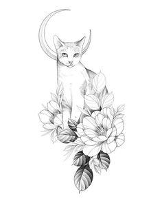 Tattoo Gato, Mädchen Tattoo, Hase Tattoos, Kunst Tattoos, Tattoo Sketches, Tattoo Drawings, Drawing Sketches, Black Cat Tattoos, Animal Tattoos