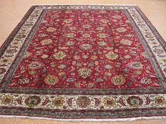9 x 12 Persian TABRIZ Hand Knotted Wool RED IVORY Floral Oriental Rug Carpet #TraditionalPersianOriental