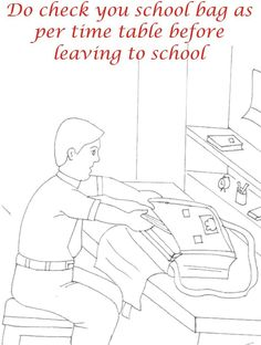 Etiquette & manners for kids in School Coloring pages