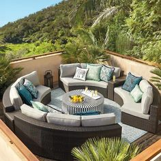 Create your dream patio with comfortable outdoor furniture sets that include sofas and chairs with all-weather cushions in a variety of styles and patterns. Used Outdoor Furniture, Fire Pit Furniture, Outdoor Rooms, Outdoor Living, Outdoor Decor, Furniture Ideas, Modern Furniture, Rustic Furniture, Antique Furniture