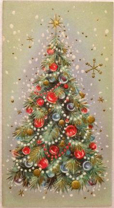 #1645 50s Unused Mid Century Decorated Tree-Vintage Christmas Greeting Card
