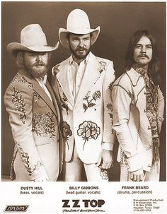 """ZZ Top in their Nudie suits which the band also wore in the cover photo for their 1975 album """"Fandango"""" Billy Gibbons, Zz Top, Rock Roll, Music Icon, My Music, Music Stuff, Frank Beard, Historia Do Rock, Texas Music"""